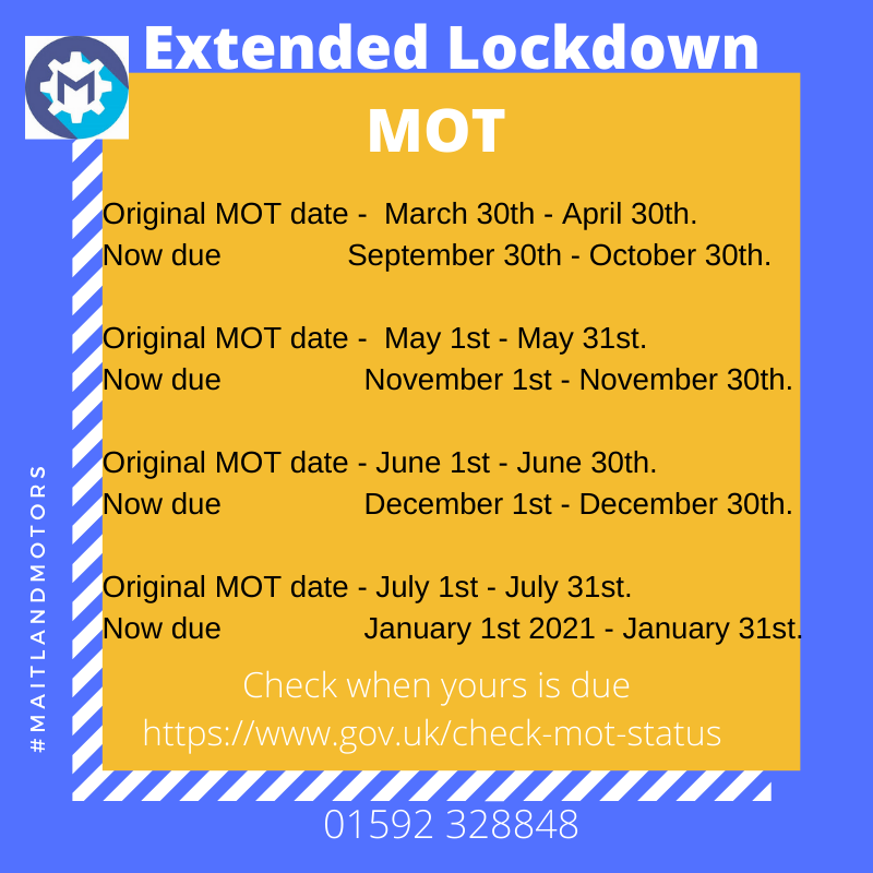 Check when your extended MOT is due.